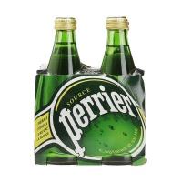巴黎水(Perrier)天然含气矿泉水(原味)气泡水 330ml*4瓶 玻璃瓶装 法国进口