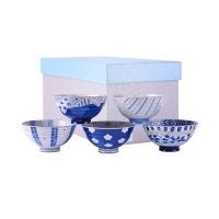古伊烧 内外蓝染茶渍5入日式陶瓷饭碗礼盒 5个装 C-20-5P 5色 餐具礼盒装